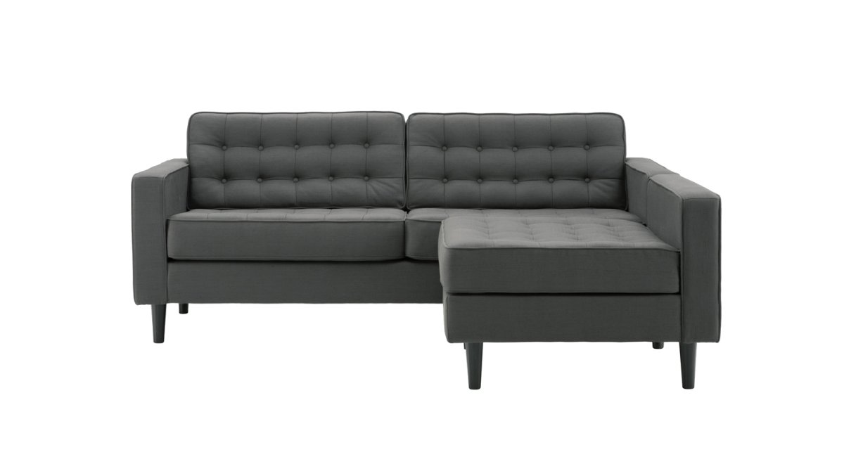 Reverie Apartment 2-Piece Sectional Sofa with Chaise - Jet Ash
