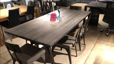 Clearance Amisco Table With 6 Chairs, Solid Birch Top $1599 AS IS FLOOR MODEL