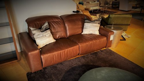 Top Grain Italian Leather Clearance Pinnacle Archy Dual Power Loveseat Down Seating  $2999 AS IS FLOOR MODEL
