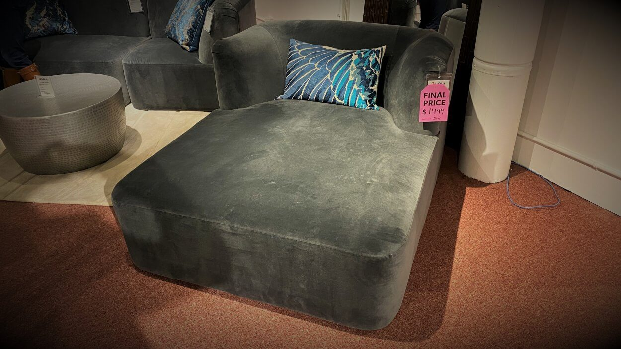 Clearance Younger Chaise $1499 AS IS FLOOR MODEL