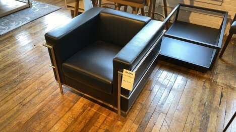 Corbu Style Chair On Sale Vinyl $499 AS IS FLOOR MODEL Downtown Store