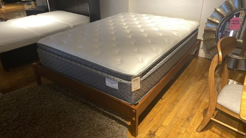 Queen Basic Cherry Bed, And Mattress $599 AS IS FLOOR MODEL