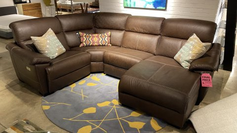 Top Grain All Leather Natuzzi Sectional Potenza, Power Unit On End Unit $2999 AS IS FLOOR MODEL