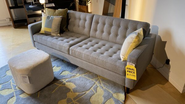 EQ3 Furniture Sale On Reverie Sofa $1599 AS IS Floor Model. Have It Right Away