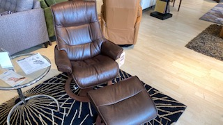 IMG Cortina Leather Chair, And Ottoman $1199 AT WEST SIDE STORE AS IS FLOOR MODEL